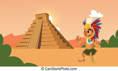 aztec pyramid with native character scene animation ,4k video animated
