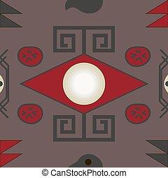 Aztec seamless pattern on brown bac