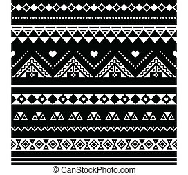 Aztec seamless pattern, tribal blac