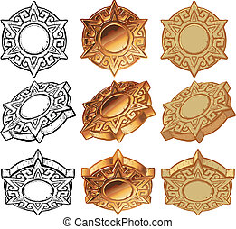 Aztec Sun Medallion Vector Icon Set - An aztec style sun...