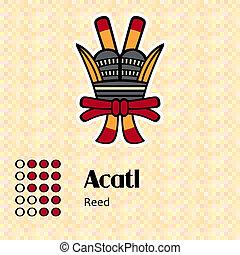Aztec symbol Acatl - Aztec calendar symbols - Acatl or reed...