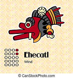 Aztec symbol Ehecatl - Aztec calendar symbols - Ehecatl or...