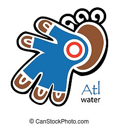Aztec symbol for Water, and Reed