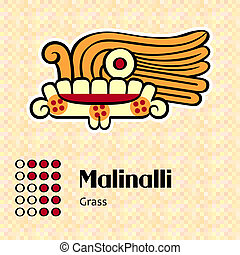 Aztec symbol Malinalli - Aztec calendar symbols - Malinalli...