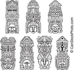 Aztec totem poles - Abstract mesoamerican aztec totem poles....