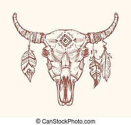 Aztec tribal buffalo skull vector t-shirt print, tattoo. Dead animal cow totem with feathers hand drawn illustration