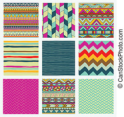 Aztec Tribal Seamless Colorful Pattern Set