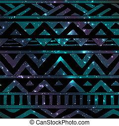 Hand Drawn Black Aztec Tribal Seamless Background Pattern on Cosmic Background