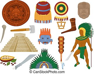 Aztec vector mexican ancient culture in Mexico and maya man character of mayan civilization illustration set of traditional ethnic pyramid and ritual decoration symbol isolated on white background