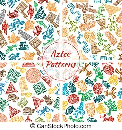 Aztec vector seamless patterns set