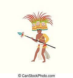 Aztec warrior man character in traditional clothes and headdress with spear vector Illustration on a white background