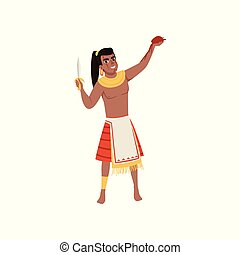 Aztec warrior man character in traditional clothes with dagger vector Illustration on a white background