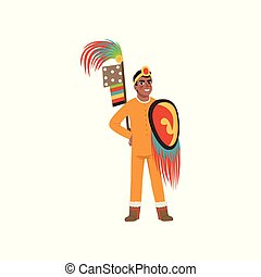 Aztec warrior man character in traditional clothes with spear and shield vector Illustration on a white background