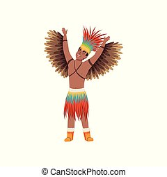 Aztec warrior man character in traditional clothes with wings vector Illustration on a white background