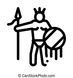 Aztec with Spear and Shield Outline Illustration