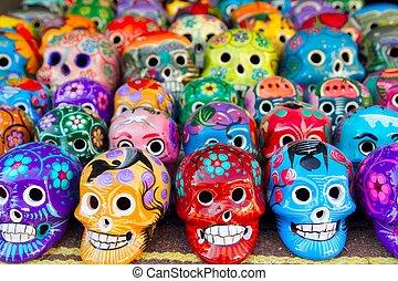 azteca, cráneos, mexicano, día muerto, colorido