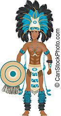 aztekisch, kirmes, kostüm