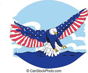 azul, águia, &, americano, branco vermelho