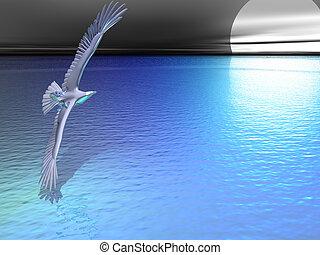 azul, águia, prata