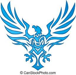 azul, águila, llama, tatuaje