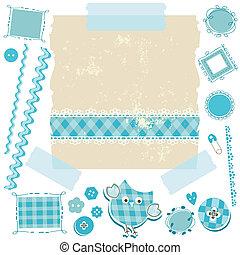 azul, álbum de recortes, kit