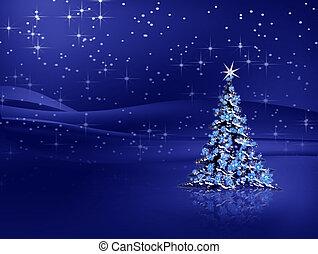 azul, árbol, copos de nieve, plano de fondo, navidad
