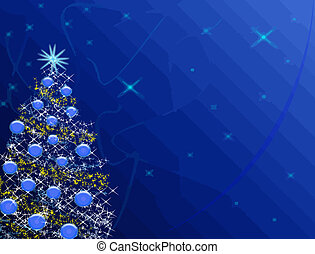 azul, árbol, navidad