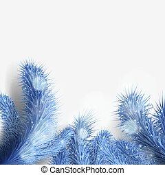 azul, árbol, navidad, rama