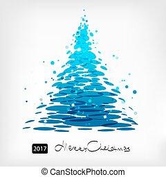 azul, árvore, arte, natal