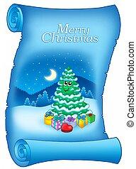 azul, árvore natal, pergaminho, nevado