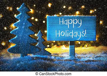 azul, árvore natal, texto, feliz, feriados, snowflakes