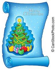 azul, árvore, pergaminho, natal