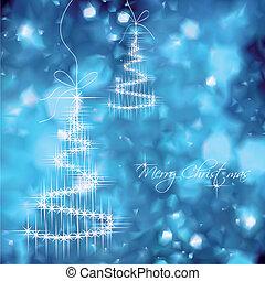 azul, árvore, vetorial, desenho, fundo, natal
