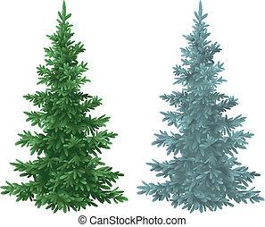 azul, árvores abeto, verde, asseado, natal