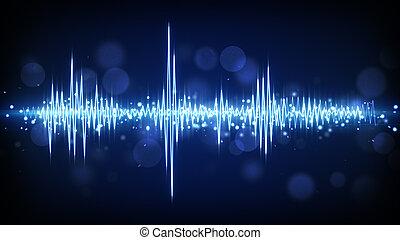 azul, áudio, waveform, fundo