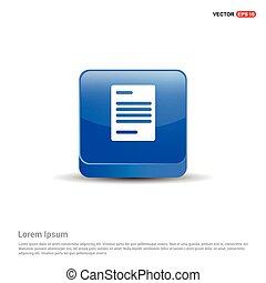 azul, ícone, botão, -, documento, 3d