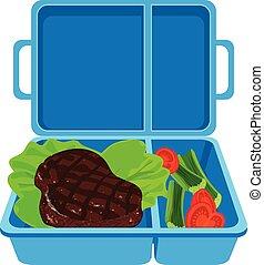 azul, ícone, estilo, caricatura, lunchbox