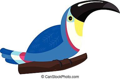 azul, ícone, estilo, tucano, caricatura