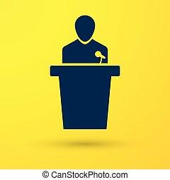 azul, ícone, experiência., ilustração, isolado, amarela, pessoa, vetorial, orador, podium., orador, tribune., discurso público, speech.