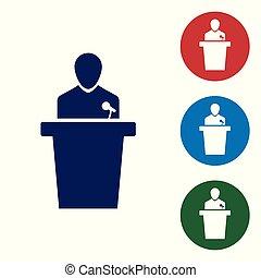 azul, ícone, experiência., isolado, ilustração, pessoa, vetorial, orador, podium., orador, branca, tribune., discurso público, speech.
