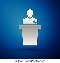 azul, ícone, experiência., isolado, ilustração, prata, pessoa, vetorial, orador, podium., orador, tribune., discurso público, speech.