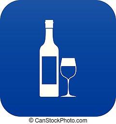 azul, ícone, garrafa vinho, digital