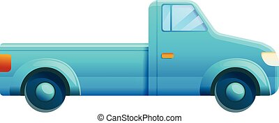 azul, ícone, pickup, estilo, caricatura