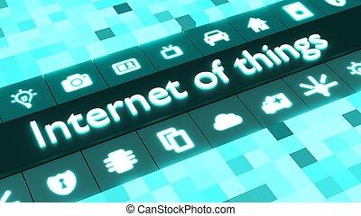 azul, ícones conceito, coisas, abstratos, internet