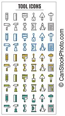 azul, ícones, cor, ferramenta, amarela, vetorial, experiência preta, verde branco