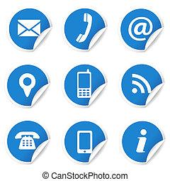 azul, ícones correia fotorreceptora, etiquetas, contato