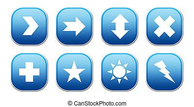 azul, ícones