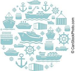 azul, ícones, experiência., shipping., navio, transportation., bote, white.