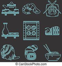azul, ícones, japonês alimento, cobrança, vetorial