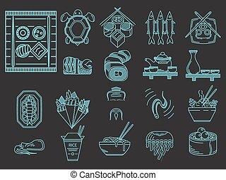 azul, ícones, menu, japoneses, vetorial, linha